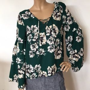 Sanctuary Green Floral Bell Sleeve Blouse Top L XL